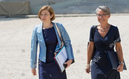 French Defense Minister Florence Pagny and French Minister in charge of transport Elisabeth Borne