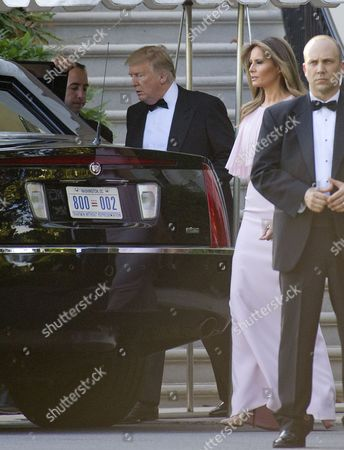 United States President Donald J. Trump and first lady Melania Trump depart the White House in Washington, DC to attend the wedding of US Secretary of the Treasury Steven Mnuchin and Louise Linton.