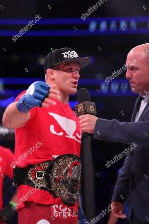 Brent Primus is interviewed by Jimmy Smith after a win against Michael Chandler in a mixed martial arts bout for the lightweight title at Bellator 180, in New York. Primus won the title via first round doctor stoppage