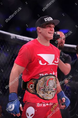Brent Primus is seen after a win against Michael Chandler in a mixed martial arts bout for the lightweight title at Bellator 180, in New York. Primus won the title via first round doctor stoppage