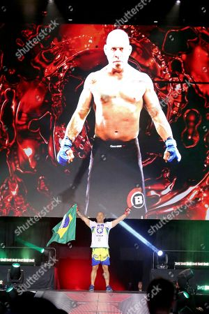 Wanderlei Silva, of Brazil, enters the ring for his fight against Chael Sonnen before a mixed martial arts bout at Bellator 180, in New York. Sonnen won via unanimous decision