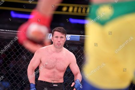 Chael Sonnen is seen against Wanderlei Silva, of Brazil, during a mixed martial arts bout at Bellator 180, in New York. Sonnen won via unanimous decision