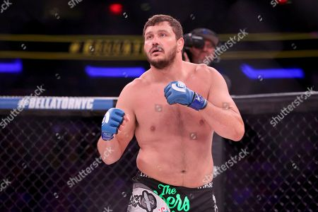 Matt Mitrione in action against Fedor Emelianenko in a mixed martial arts bout at Bellator 180, in New York. Mitrione won via first round stoppage
