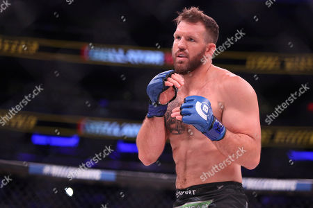 Ryan Bader in action against Phil Davis in a mixed martial arts bout for the light heavyweight title at Bellator 180, in New York. Bader won via decision to win the title