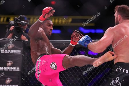Phil Davis in action against Ryan Bader during a mixed martial arts bout for the light heavyweight title at Bellator 180, in New York. Bader won via decision to win the title