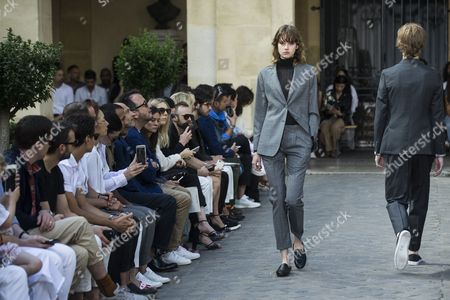 Models present creations from the Spring/Summer 2018 Menswear Collection by French designer Pierre Maheo for Officine Generale during the Paris Men's Fashion Week, in Paris, France, 25 June 2017. The presentation of the Men?s collections runs from 21 to 25 June.