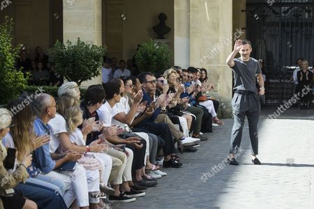 French designer Pierre Maheo acknoledges the public after his Spring/Summer 2018 Menswear Collection show for Officine Generale during the Paris Men's Fashion Week, in Paris, France, 25 June 2017. The presentation of the Men?s collections runs from 21 to 25 June.
