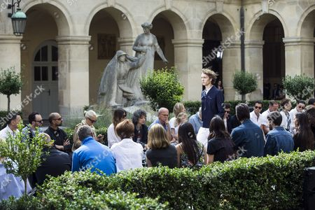 A model presents a creation from the Spring/Summer 2018 Menswear Collection by French designer Pierre Maheo for Officine Generale during the Paris Men's Fashion Week, in Paris, France, 25 June 2017. The presentation of the Men?s collections runs from 21 to 25 June.