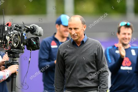 Nasser Hussain on the pitch after giving the England players a pep talk before the International T20 match between England and South Africa at the SWALEC Stadium, Cardiff