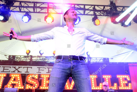 Drew Baldridge performs during the Country LakeShake music festival in Chicago, Illinois
