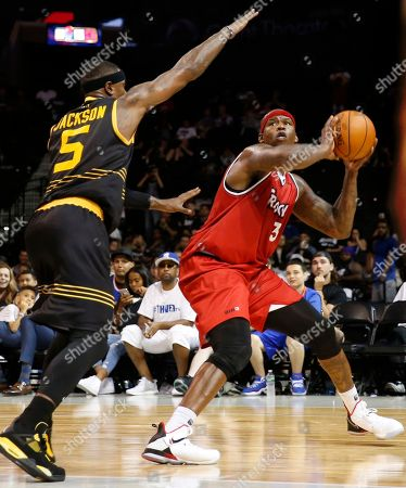 Stephen Jackson, Al Harrington Killer 3's player co-captain Stephen Jackson, (5) defends player co-captain Al Harrington who sets up for a shot during the second half of Game 4 in the BIG3 Basketball League's debut, at the Barclays Center in New York
