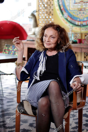 Designer Diane Von Furstenberg appears during an interview in her office in the Meat Packing District in New York. At age 70, Diane von Furstenberg is refocusing. Having handed over the creative reins of her fashion label to Jonathan Saunders, one of fashion's most iconic names is now turning her energies to philanthropy