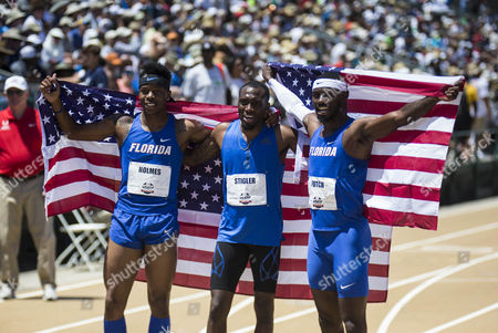 Sacramento, CA : Men's 400m Hurdles final top 3 to make the U.S.A. Team 3rd place (l) TJ Holmes, (center) Michael Stigler ( 1st place Eric Futch celebrate after the race during the USATF Outdoor Track and Field Championship Day 4 at Hornet Stadium Sacramento, CA. Thurman James / CSM