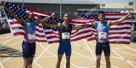 Sacramento, CA : Men's 110m hurdles final Aleec Harris(c) win with a time of 13.24, 2nd place Aries Merrit(l) 13.31 and Devon Allen(r) 13.34 during the USATF Outdoor Track and Field Championship Day 4 at Hornet Stadium Sacramento, CA. Thurman James / CSM