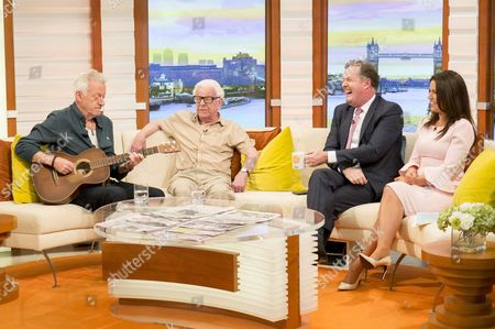 Ronnie Golden and Barry Cryer with Piers Morgan and Susanna Reid