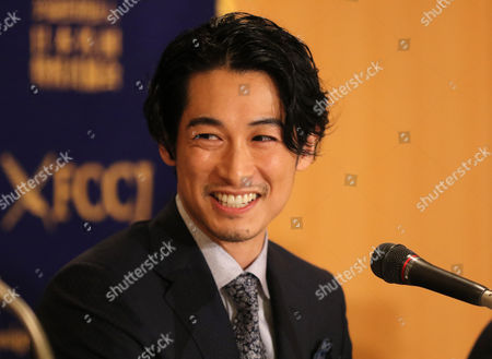 "Stock Photo of Japanese actor Dean Fujioka speaks at a press conference for his latest movie ""Marriage"" (Kekkon) after a sneak preview screening"
