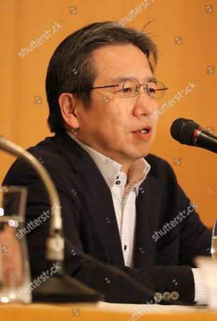 """Stock Photo of Japanese film director Shinichi Nishitani speaks at a press conference for his latest movie """"Marriage"""" (Kekkon) after a sneak preview screening"""