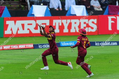 Hayley Matthews of West Indies takes the catch of Meg Lanning of Australia during the Women's World Cup Group Match between Australia v West Indies on June 26 at Coopers Associate County Ground, Taunton, Somerset.
