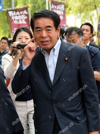Stock Image of Hakubun Shimomura, chairman of the Federation of Tokyo Metropolitan Liberal Democratic Party Branches, speaks at a kick-off rally of an LDP candidate as official campaigning started for the Tokyo Metropolitan Assembly election