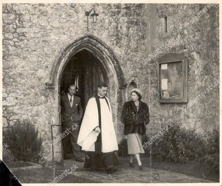 The Queen Elizabeth II Leaves The Ancient Parish Church At Mersham Kent With The Rector The Rev. John H. Edinger. Prince Philip Prince Philip Follows. They Spent The Week-end With Lord And Lady Brabourne. 5th December 1952.