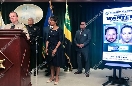 Los Angeles Sheriff Jim McDonnell, left, talks as District Attorney Jackie Lacey looks on during a news conference, in Los Angeles. Los Angeles County law enforcement officials told reporters Monday that prior to his arrest last week, 35-year-old Aramazd Andressian Sr. had changed his appearance and had been socializing in Las Vegas, conduct characterized as inconsistent with that of a grieving parent. Sheriff's Department homicide investigators would not release specific details of what led to the filing of the murder charge when the body of 5-year-old Aramazd Andressian Jr. has not been found