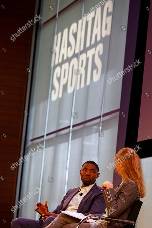 Stock Photo of Roger Mason Jr., President/Commissioner of the BIG3, speaks with Bonnie Bernstein at the Hashtag Sports Conference in New York, on