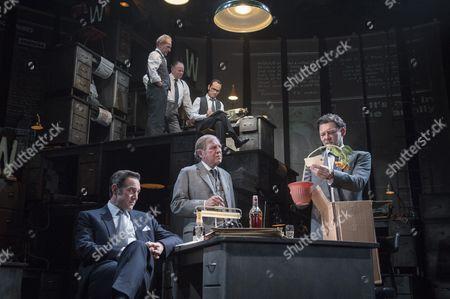 Stock Image of David Schofield as Hugh Cudlip, Tony Turner as Frank Nicklin, Rene Zagger as Ray Mills, Bertie Carvel as Rupert Murdoch, Geoffrey Freshwater as Sir Alick McKay, Richard Coyle as Larry Lamb