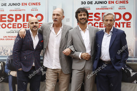 Stock Picture of Argentinian film director Lucas Figueroa (from left), Argentinian actor Dario Grandinetti, and Spanish actors Hugo Silva and Imanol Arias pose for photographers during the presentation of their film 'Despido Procedente' (Fair Dismissal) in Madrid, Spain, 27 June 2017. The film opens in Spanish cinemas on next 30 June 2017.
