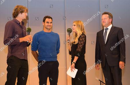 Stock Picture of Alexander Zverev, Roger Federer, Anna Kraft and Ralf Weber