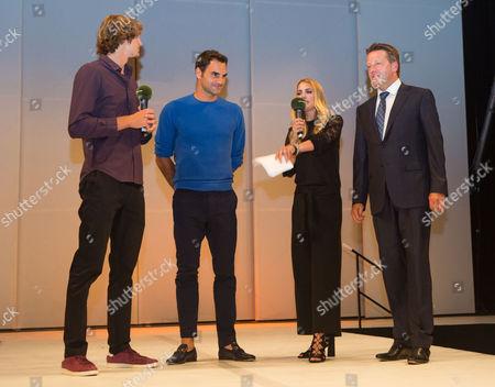 Stock Image of Alexander Zverev, Roger Federer, Anna Kraft and Ralf Weber