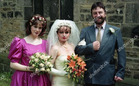 It's the day of Luke and Tina's wedding - With Zak Dingle, as played by Steve Halliwell ; Dolores Sharp, as played by Samantha Hurst, and Tina Dingle, as played by Jacqueline Pirie. (Ep 1992 - 20th July 1995).