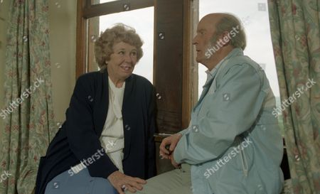 Annie shocks Amos by proposing to him - With Annie Sugden, as played by Sheila Mercier, and Amos Brearly, as played by Ronald Magill. (Ep 1987 - 4th July 1985).
