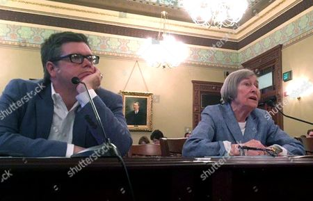 Rep. Mike Zalewski, D-Riverside, and House Majority Leader Barbara Flynn Currie, D-Chicago advocate for a property tax freeze before the House Revenue and Finance Committee Tuesday, June, 27, 2017, at the State Capitol in Springfield, Ill