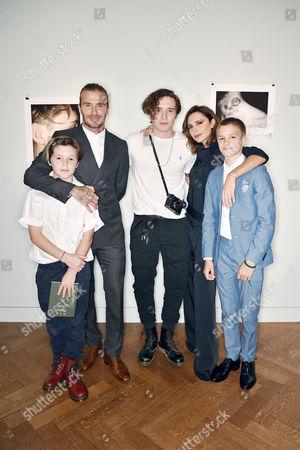 Cruz Beckham, David Beckham, Brooklyn Beckham (wearing Polo Ralph Lauren), Victoria Beckham and Romeo Beckham
