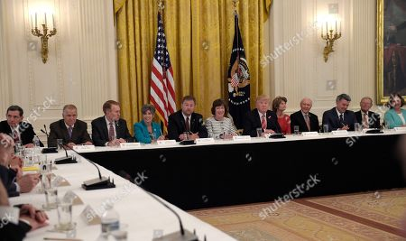 Donald Trump, Dean Heller, Susan Collins, Lisa Murkowski, Orrin Hatch, Joni Ernst, Jim Inhofe, Cory Gardner, John Barrasso, Thom Tillis, James Lankford, Deb Fischer President Donald Trump, center, speaks as he meets with Republican senators on health care in the East Room of the White House in Washington, . Seated with him, from left, Senator John Barrasso, RSenator., Sen. Thom TillisSenatorN.C., Sen. James LankfoSenatorR-Okla., Sen. JoniSenatorst, R-Iowa, Sen. DeSenatoreller, R-Nev., Sen. SuSenatorCollins, R-Maine, Sen. LSenatorMurkowski, R-AlaskaSenatorn. Orrin Hatch, R-UtaSenatoren. Cory Gardner, R-ColSenatorSen. Jim Inhofe, R-Okla., and Sen. Deb Fischer, R-Neb