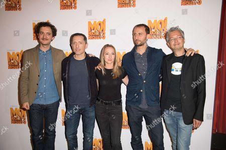(David Marsais, Gad Elmaleh, Audrey Lamy, Arie Elmaleh and Director Pierre Coffin