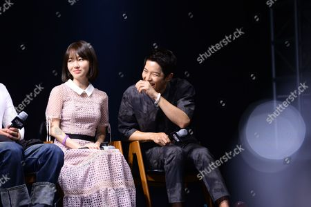 Song Joong-ki promotes for his new movie 'Hashima Island'.