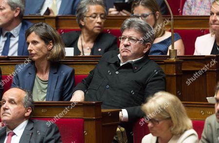 Emmanuelle Menard and Jean-Luc Melenchon