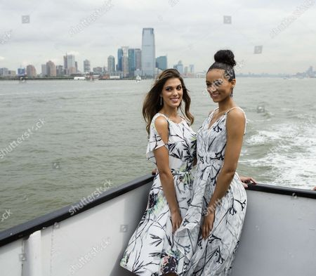 Miss Universe, Iris Mittenaere and Miss USA, Deshauna Barber during a sightseeing cruise to Statue of Liberty and Ellis Island