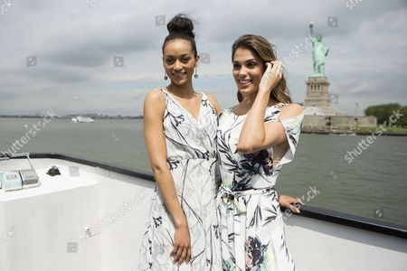 Miss Universe, Iris Mittenaere, and Miss USA, Deshauna Barber during a sightseeing cruise to Statue of Liberty and Ellis Island