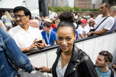 Stock Photo of Miss USA, Deshauna Barber enters sightseeing cruise to Statue of Liberty and Ellis Island