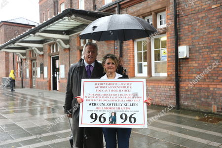 Louise Brookes & Michael Mansfield arrive at Parr Hall. Families of the 96 people killed at the Hillsborough disaster in 1989 will today find out if criminal charges will be brought after Prosecutors examining files identified 23 criminal suspects