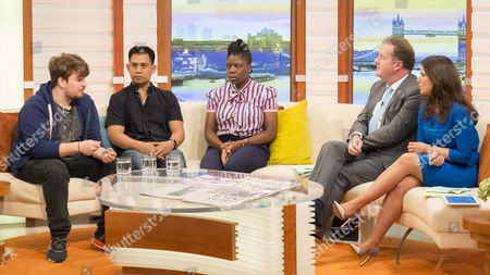 Paul, Gordon Bonafacio and Eartha Pond with Piers Morgan and Susanna Reid