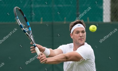 Great Britain's Marcus Willis in action during his match against fellow British player Liam Broady in 2nd Wimbledon Qualifying round