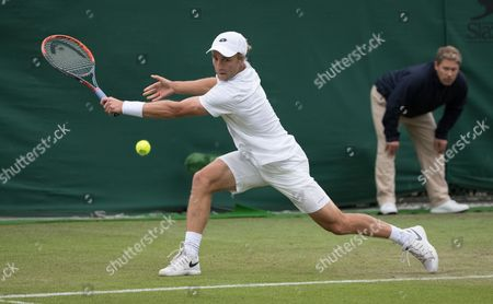 Great Britain's Liam Broady in action against fellow British player Marcus Willis in 2nd Wimbledon Qualifying round