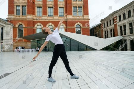 Stock Picture of Julie Cunningham & Company dancers perform in The Sackler Courtyard as part of the new V & A Exhibition Road Quarter.