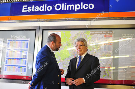 Enrique Cerezo (R), the president of Spanish soccre club Atletico Madrid and regional Transport Minister, Pedro Manuel Rollan Ojeda (L), attend the presentation of the new name of the metro station 'Estadio Metropolitano' in Madrid, Spain, 28 June 2017. The metro station has changed its previous name, Olympic Stadium, to Metropolitano Stadium as Atletico Madrid moves from the Calderon Stadium into former Olympic Stadium now called Wanda Metropolitano Stadium. The stadium, that was chosen by Madrid's 2012, 2016 and 2020 Olympic bids as the stadium to hold the games, is now Atletico de Madrid's new 'home'.