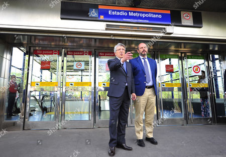 Enrique Cerezo (L), the president of Spanish soccre club Atletico Madrid and regional Transport Minister, Pedro Manuel Rollan Ojeda (R), attend the presentation of the new name of the metro station 'Estadio Metropolitano' in Madrid, Spain, 28 June 2017. The metro station has changed its previous name, Olympic Stadium, to Metropolitano Stadium as Atletico Madrid moves from the Calderon Stadium into former Olympic Stadium now called Wanda Metropolitano Stadium. The stadium, that was chosen by Madrid's 2012, 2016 and 2020 Olympic bids as the stadium to hold the games, is now Atletico de Madrid's new 'home'.