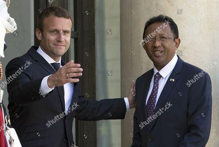 Emmanuel Macron and Hery Rajaonarimampianina