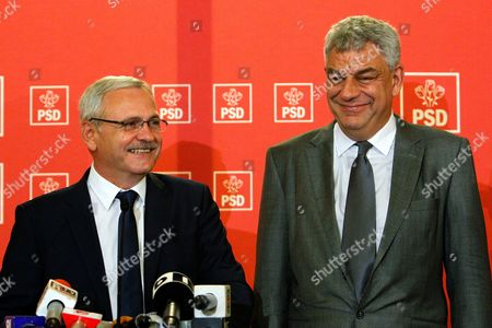 Romania's Designated Prime Minister Mihai Tudose (R) and Social Democratic Party (PSD) leader Liviu Dragnea (L) answer media questions in Bucharest, Romania, 28 June 2017. Mihai Tudose has been designated as a new Prime Minister by Romania's President Klaus Iohannis after the main ruling party PSD proposed him as a premier. His cabinet must pass the confidence vote in parliament. The previous government, directed by Sorin Grindeanu, was ousted after a no-confidence vote was pushed by PSD in parliament last week.